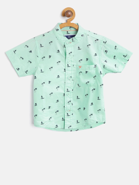 Buy 612 League Boys Mint Green Regular Fit Printed Casual Shirt