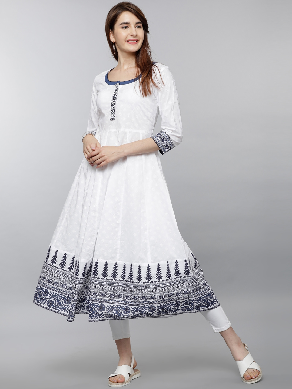3383d3dc330 Buy Vishudh Women White   Navy Blue Printed Anarkali Kurta - Kurtas ...