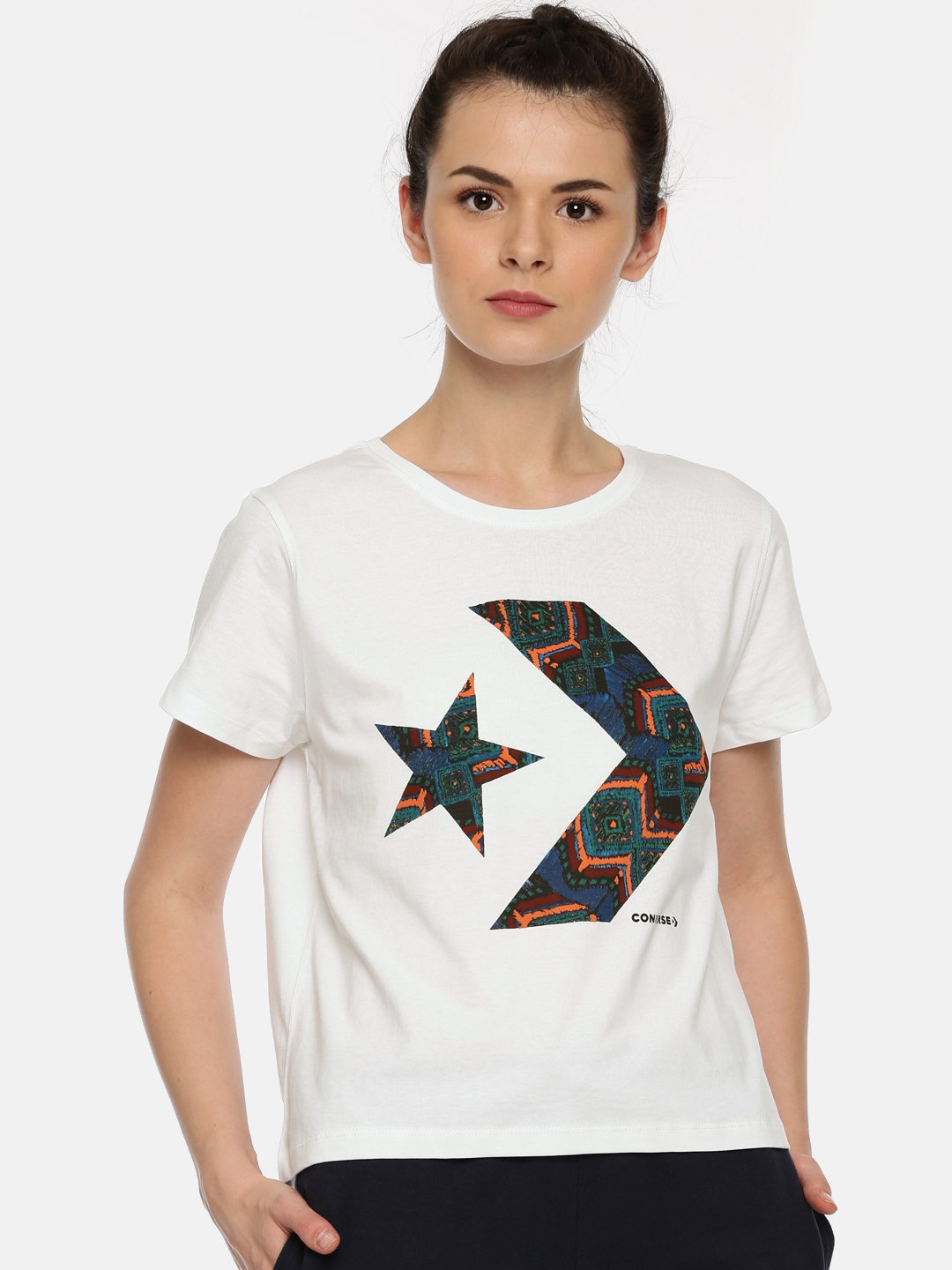 fbdc8f94a93a Buy Converse Women White Printed Round Neck T Shirt - Tshirts for ...