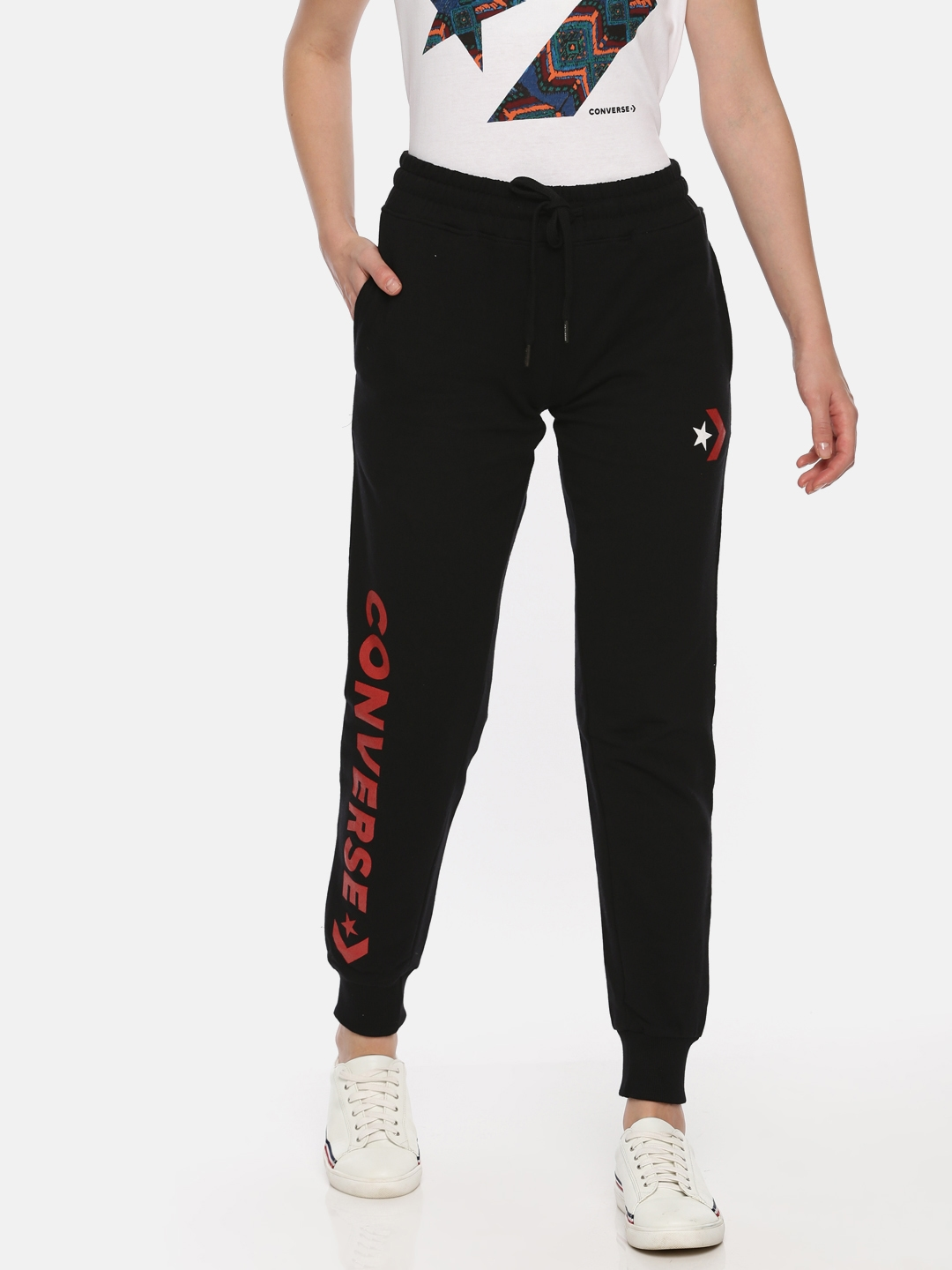 30b3ca72e48b Buy Converse Women Black Solid Joggers - Track Pants for Women ...