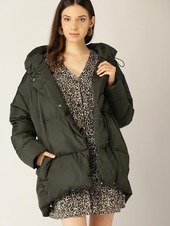 8e42b3b76 MANGO Women Olive Green Solid Padded Jacket