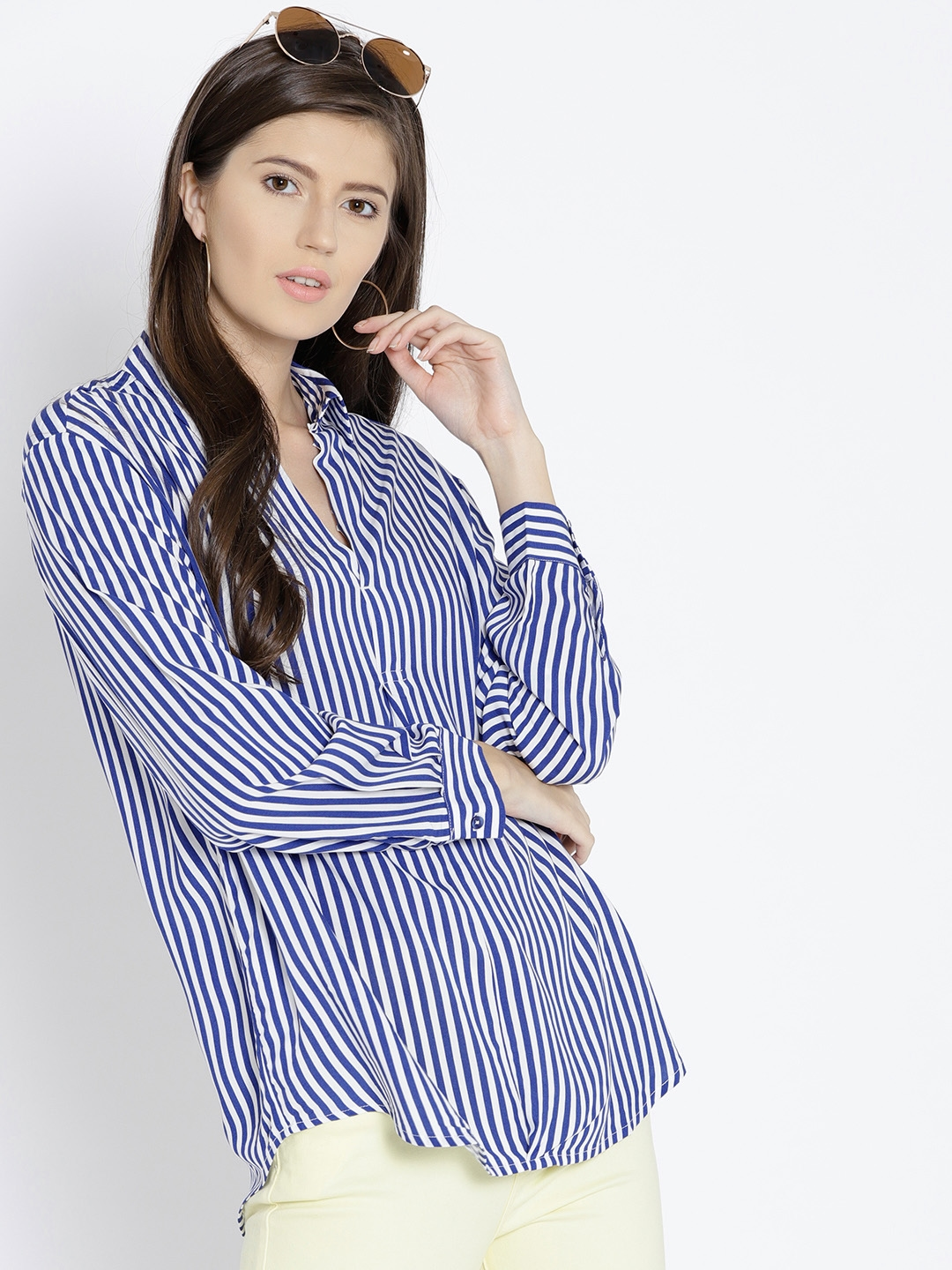 a352a95f9a Buy MANGO Women Navy Blue & White Striped Shirt Style Top - Tops for ...