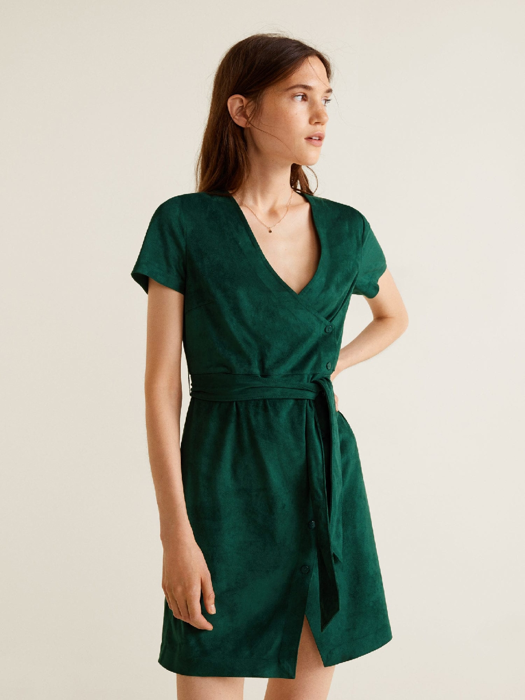 3297c9260 Buy MANGO Women Green Solid Suede Finish Wrap Dress - Dresses for ...