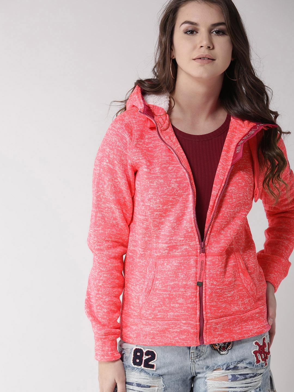 50cb758079d Buy Superdry Women Neon Pink Solid Hooded Sweatshirt - Sweatshirts ...