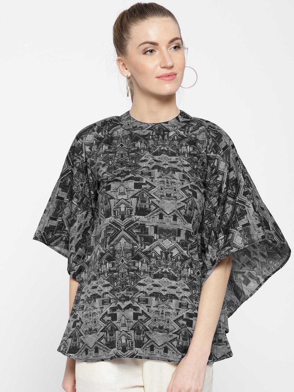 d92ab3c30cd Buy Cottinfab Women Black   Grey Printed Kaftan Top - Tops for Women ...