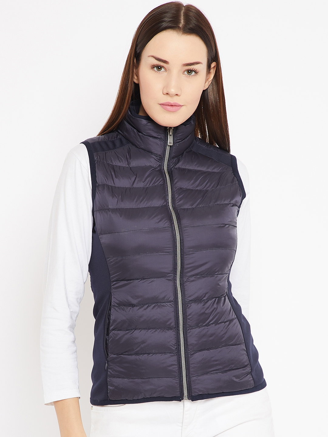 Buy Mettle Women Navy Solid Sleeveless Padded Jacket Jackets For