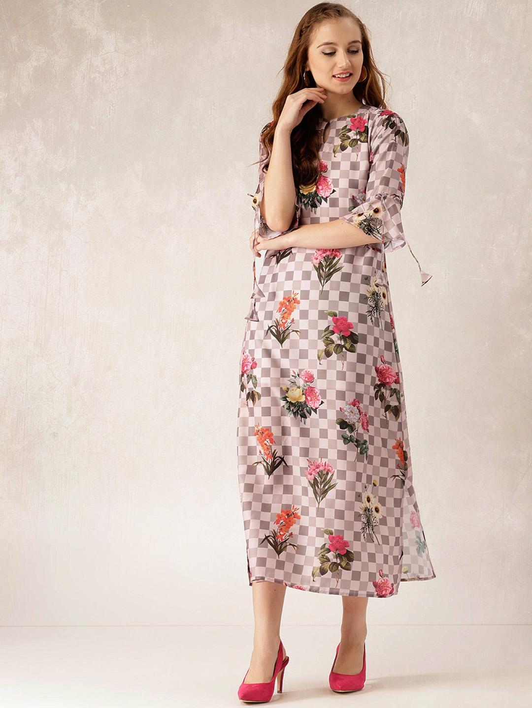 99e0cff1169 Buy Libas Women Grey   Peach Coloured Checked Floral Print Maxi ...