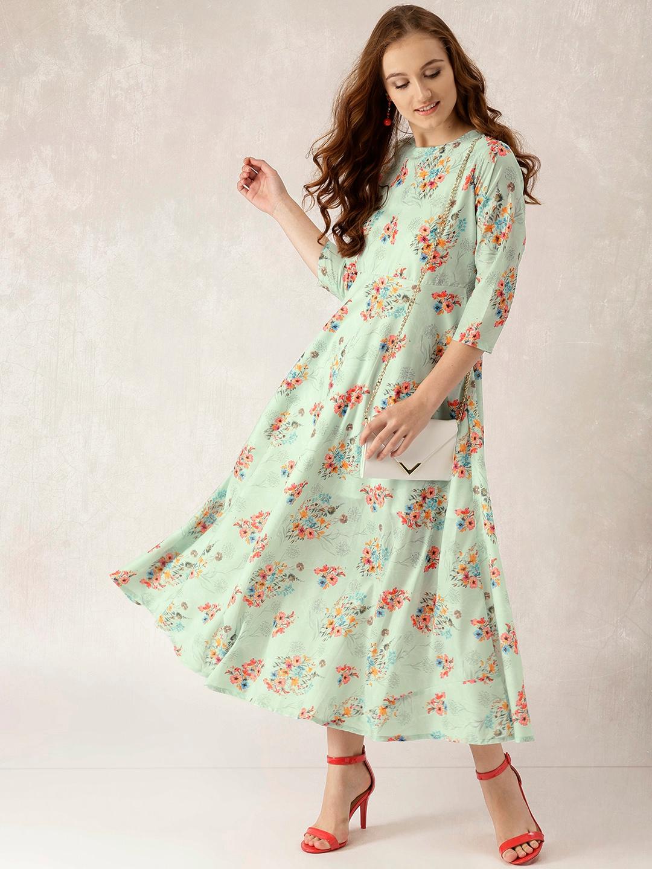 79fb526a1c Buy Libas Women Sea Green Printed Maxi Dress - Dresses for Women ...