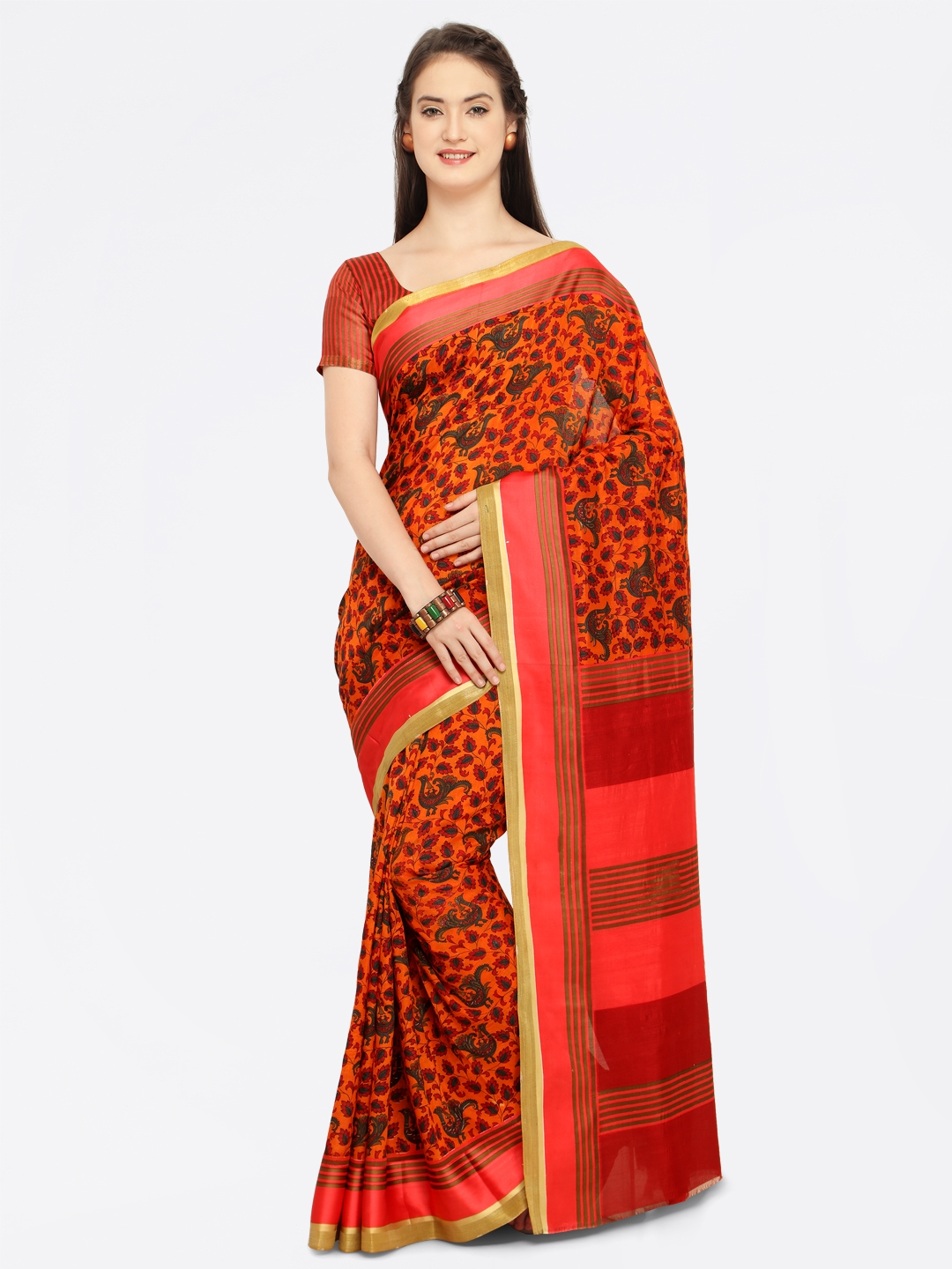 0f0471389 Buy Shaily Orange   Green Satin Printed Saree - Sarees for Women ...