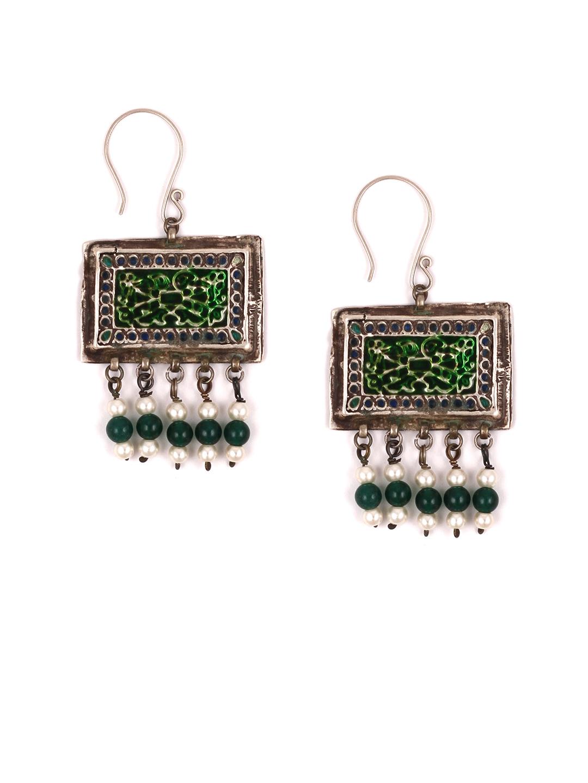 8897cf0990cad1 Buy SANGEETA BOOCHRA Silver Toned & Green Square Drop Earrings ...