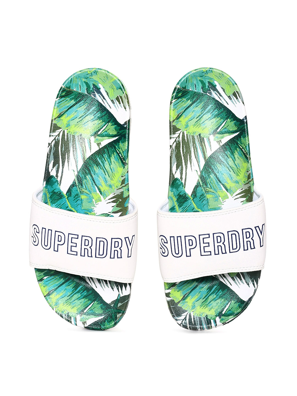 611c2aaa4 Buy Superdry Women Green Printed Sliders - Flip Flops for Women ...