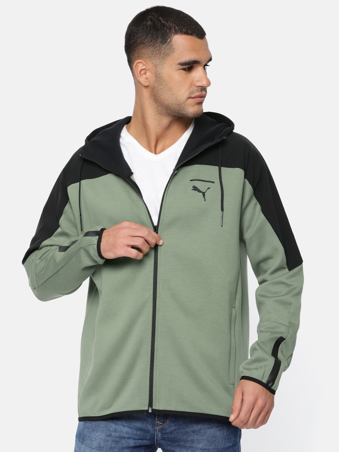 db1e0fe8d Buy Puma Olive Green Pace Lab FZ Hoody Hooded Sporty Jacket ...
