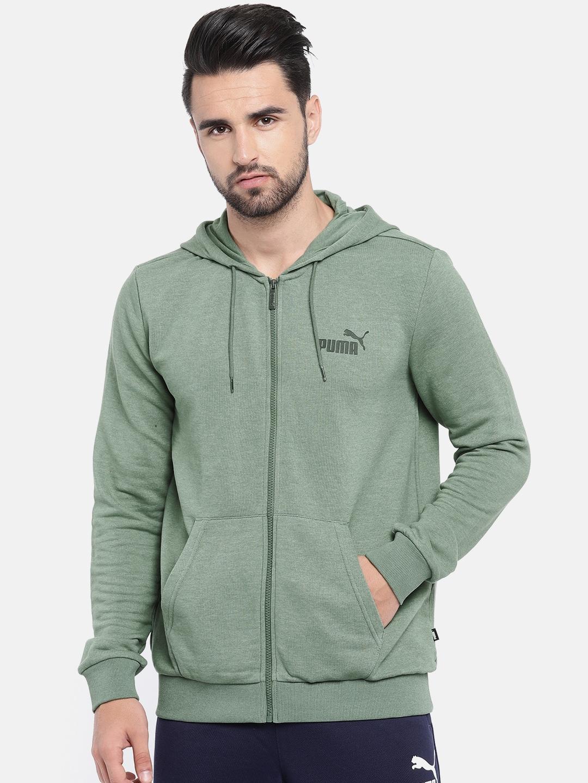 0d726ec5 Puma Men Green Elevated ESS FZ Hoody TR Sweatshirt