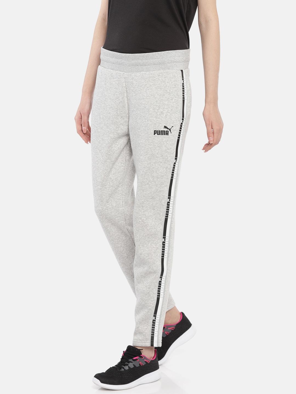 6399ebd635b6 Buy Puma Women Grey Melange Tape Pants FL Regular Fit Track Pants ...