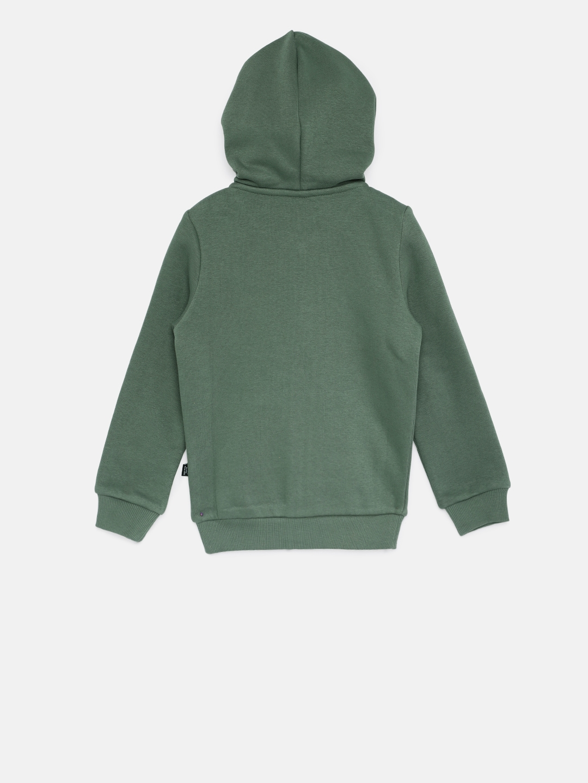 Puma Boys Olive Green Printed ESS No.1 FZ Hooded Regular Fit Sweatshirt c7100c8590