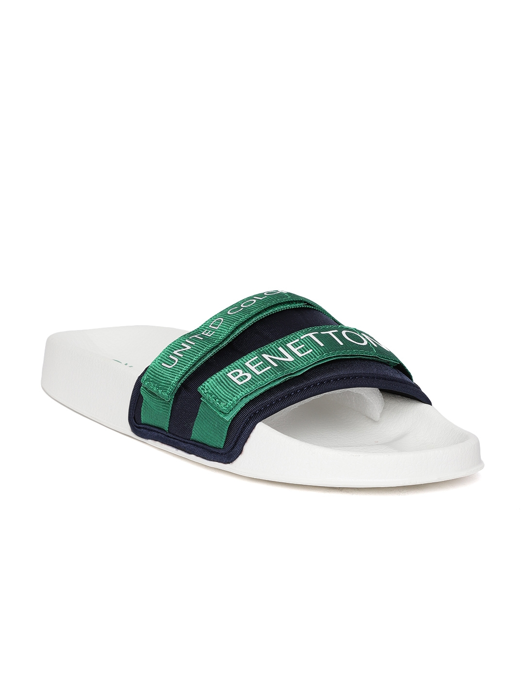 052c77858601 Buy United Colors Of Benetton Men Navy Blue   Green Printed Sliders ...