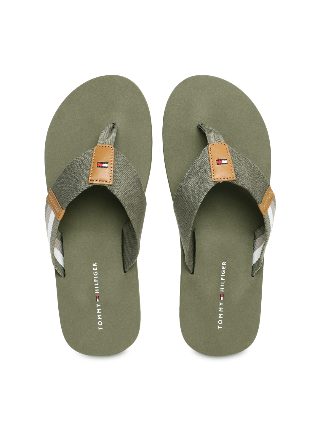 3ebd72dfa09e Buy Tommy Hilfiger Men Olive Green Solid Thong Flip Flops - Flip ...