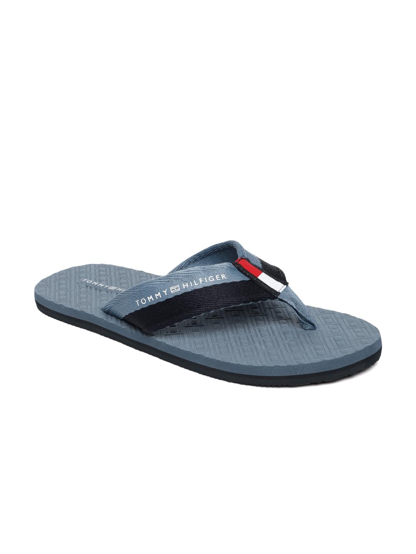 e7ed1aad5 Buy Tommy Hilfiger Men Blue Solid Thong Flip Flops - Flip Flops for ...