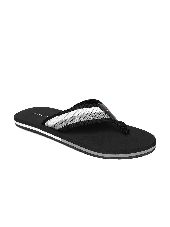 8323f97bb Buy Tommy Hilfiger Men Black   Grey Self Design Thong Flip Flops ...