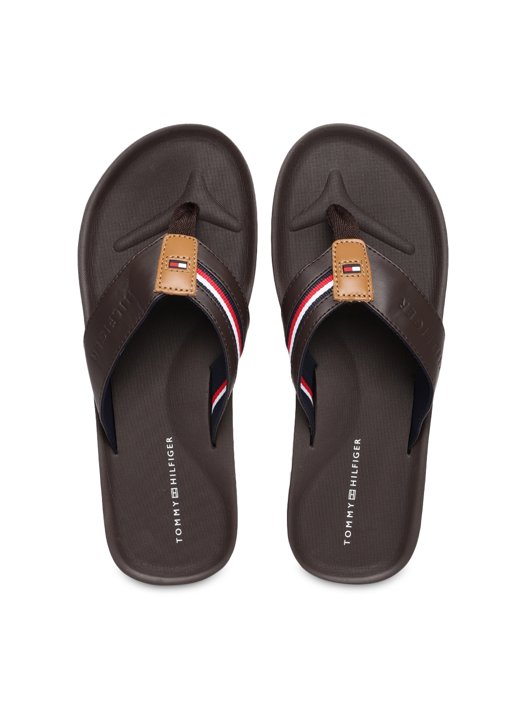 3e598f60d90f Buy Tommy Hilfiger Men Coffee Brown Striped Thong Flip Flops - Flip ...