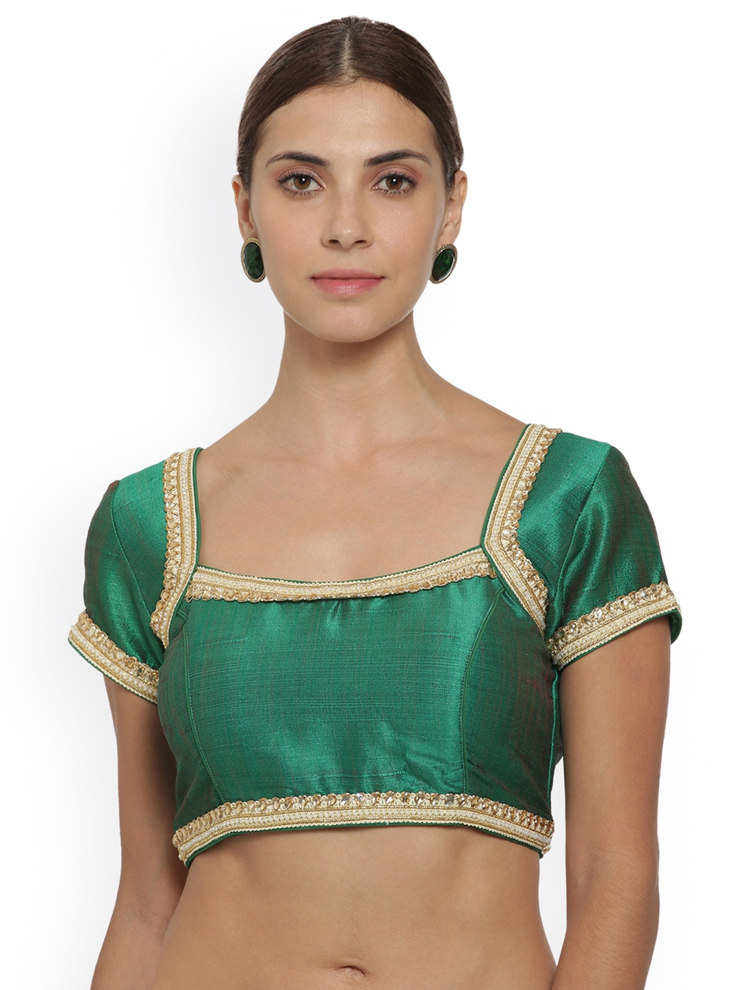 83358c0a0d732 Buy Soch Women Regular Stone Work With Beads Lace Green Blouse ...