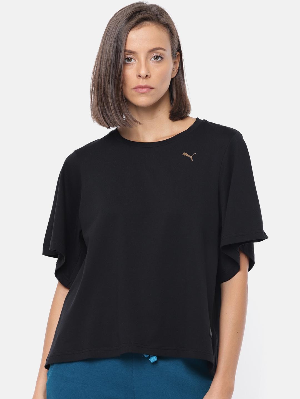Puma Women Black FUSION Fashion Solid Round Neck T shirt