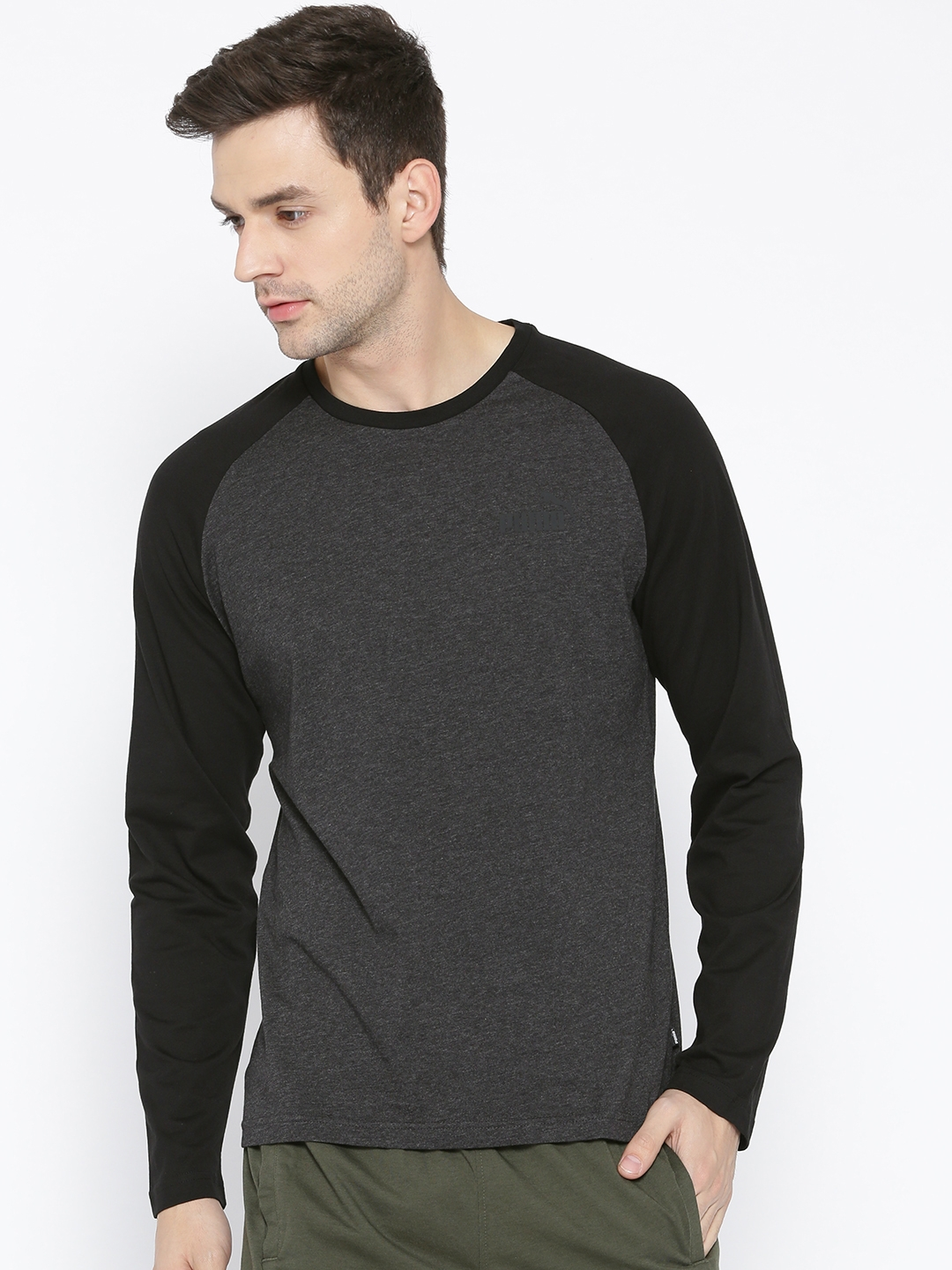 abe18acd0a8 Buy Puma Men Charcoal Solid Round Neck T Shirt - Tshirts for Men ...