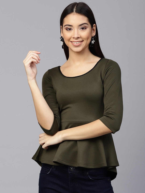 868f99e00b63 Buy SASSAFRAS Women Olive Green Solid Peplum Top - Tops for Women ...