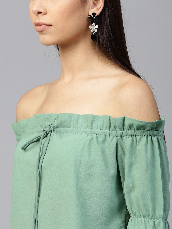 70e5f243dc778e Buy SASSAFRAS Women Green Solid Bardot Top - Tops for Women 7188691 ...