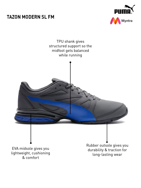 8bf1808e792 Buy Puma Men Blue   Grey Tazon Modern SL FM Running Shoes - Sports ...