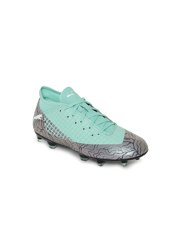 free shipping 751ef 03cfd Puma Boys Green   Grey Colourblocked FUTURE 2.4 FG AG Football Shoes
