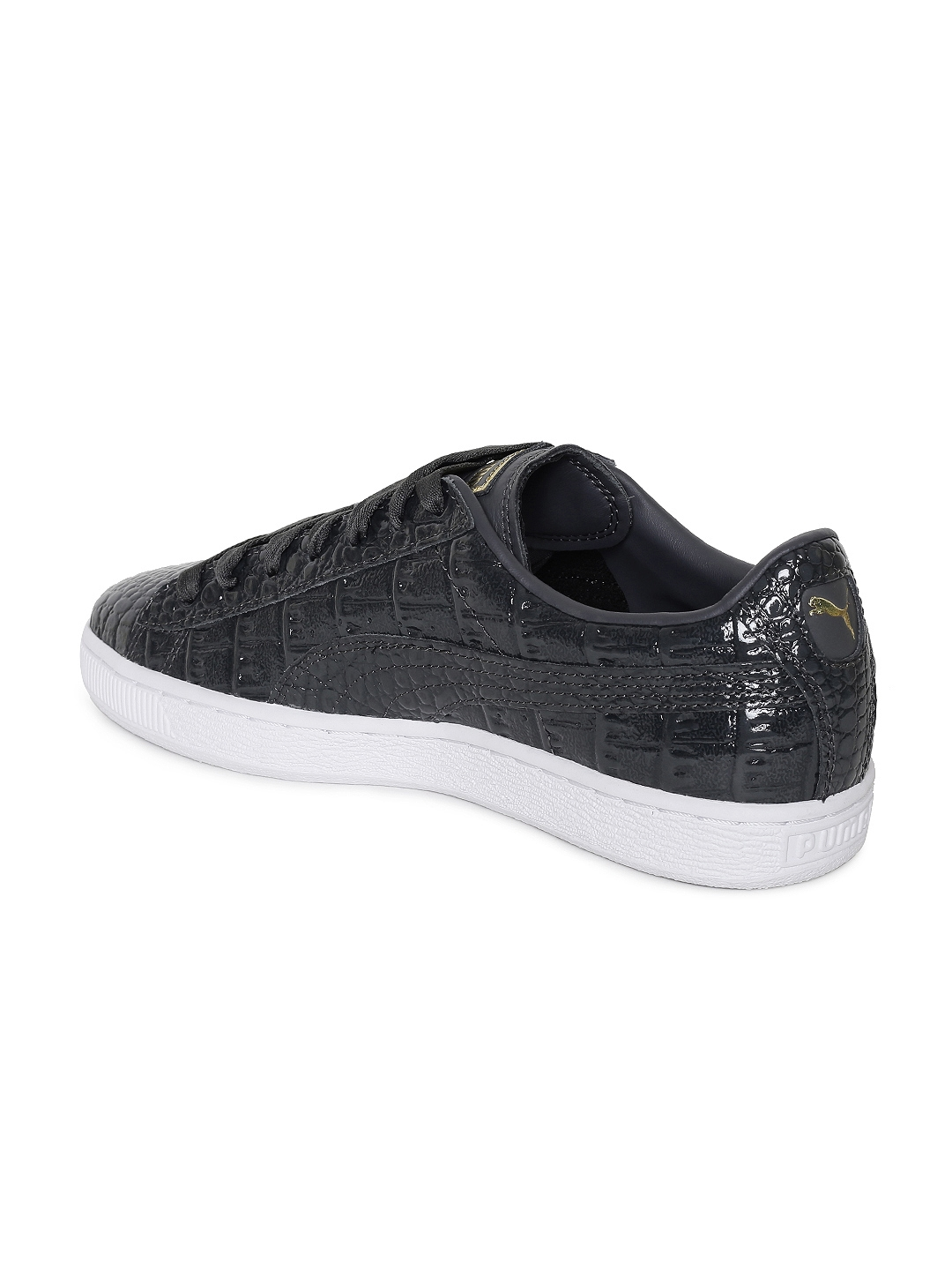 12df4fd206883e Buy Puma Women Black Textured Basket Exotic Lux Leather Sneakers ...