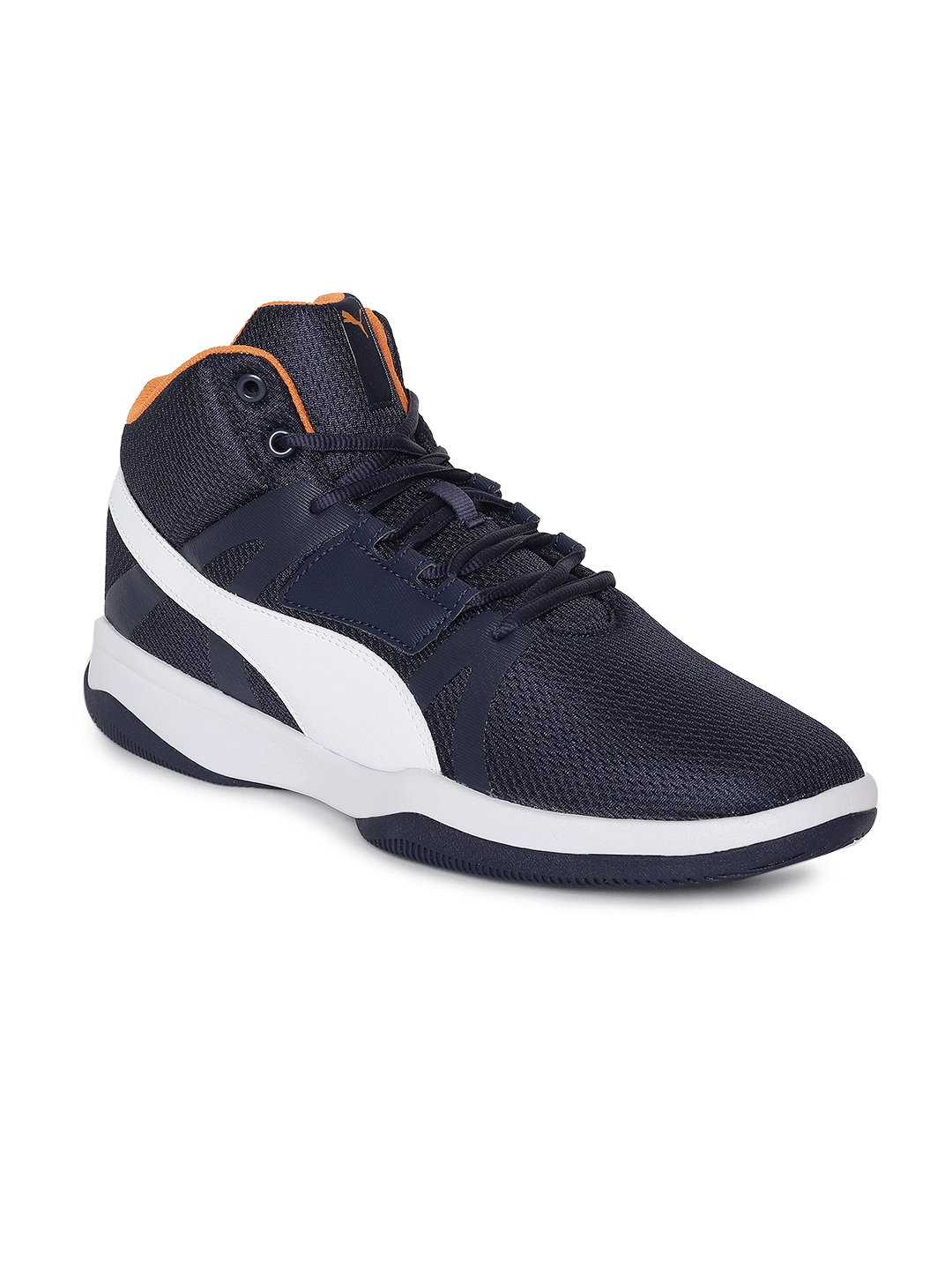 35e26db0d3b Buy Puma Men Navy Blue Solid Rebound Street BSK IDP Mid Top Sneakers ...
