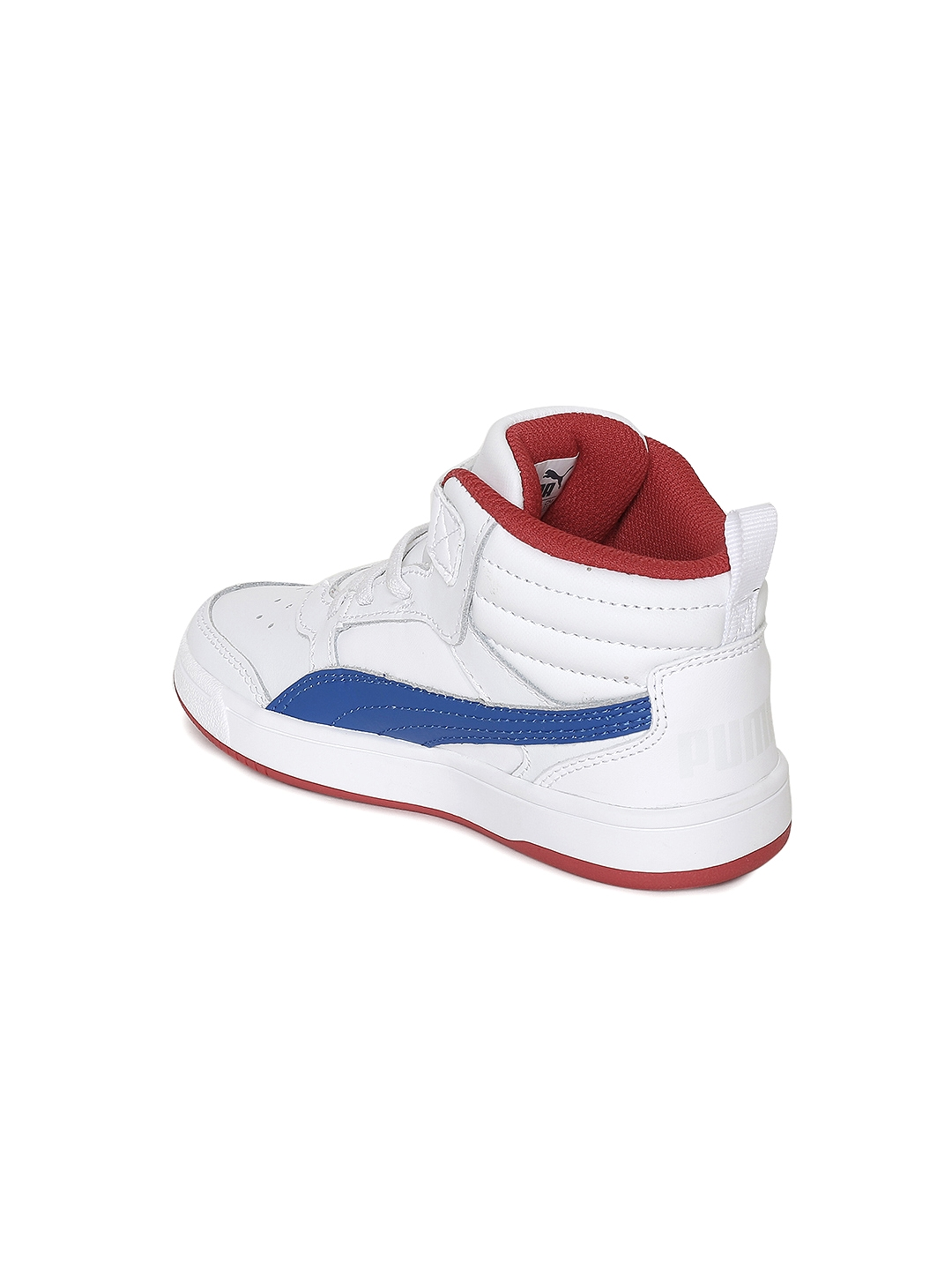 724264dc5ccc ... Puma Boys White Solid Rebound Street v2 L V Ps Solid Leather Mid-Top  Sneakers differently ...