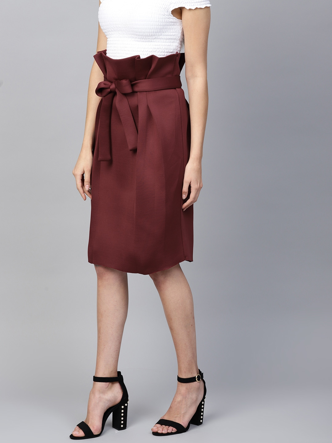 30ffa65a0 Buy Athena Women Burgundy Solid Pleated A Line Skirt - Skirts for ...