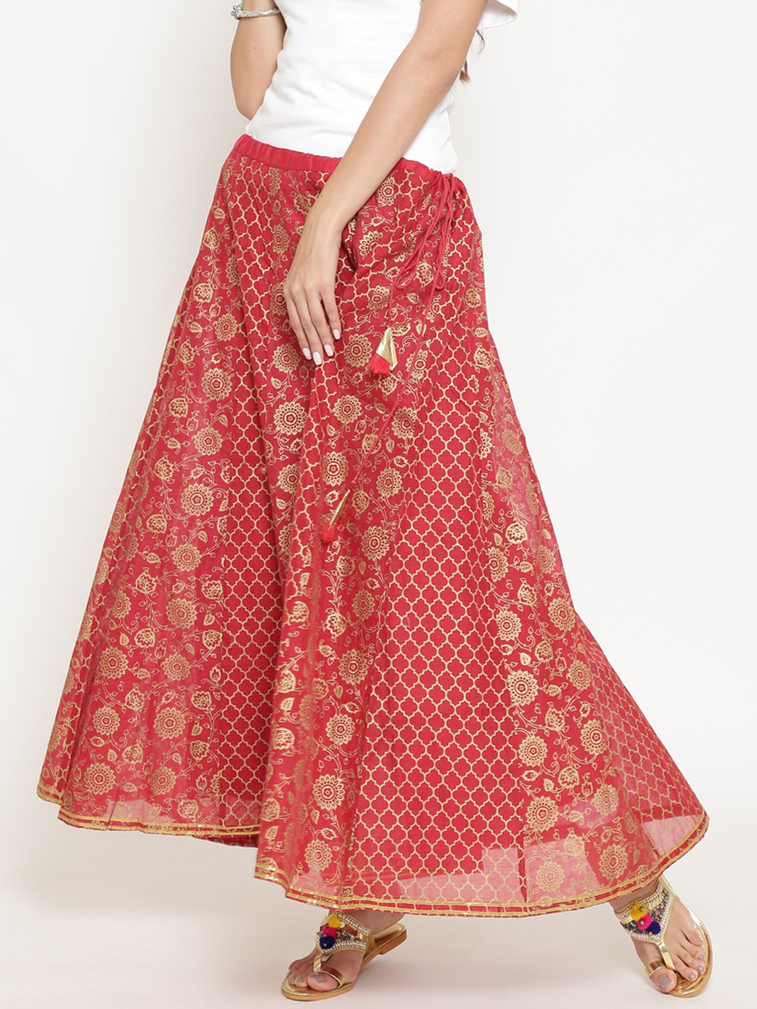 8e50a1bf6 Buy Rangriti Red & Golden Printed Flared Maxi Skirt - Skirts for ...