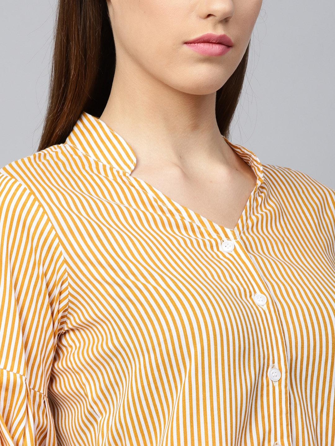 fca5ae460cef0 Buy Athena Women Mustard Yellow   Off White Striped Shirt Style Top ...