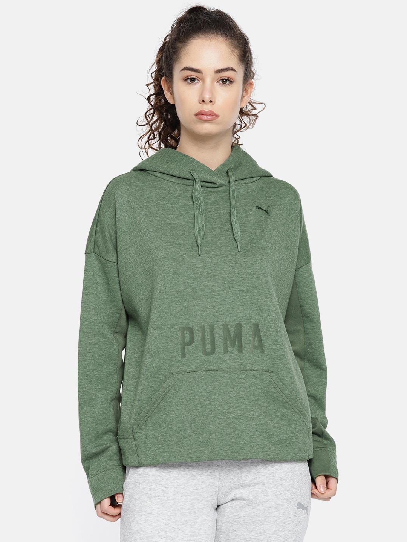 74c91408903d Buy Puma Women Olive Green FUSION Hooded Printed Sweatshirt ...