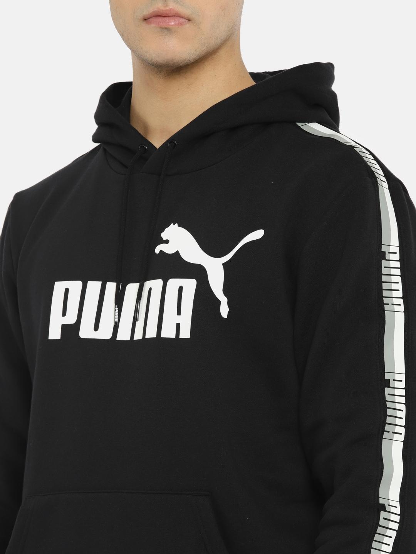 c99bf7595 Buy Puma Men Black ELEVATED ESS Tape Printed Hooded Sweatshirt ...