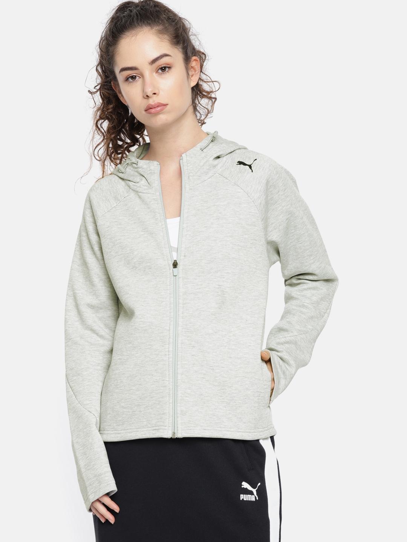 2a679fdb25e6 Buy Puma Women Grey Evostripe Core FZ Hoody Jacket - Jackets for ...