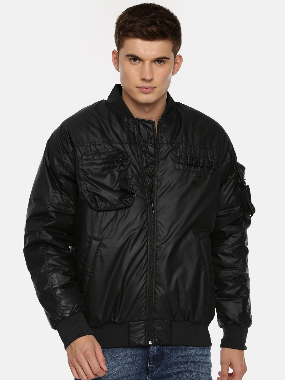 7bfe45d2b180 Buy Puma Men Black Solid Pace Lab Down Bomber Jacket - Jackets for ...