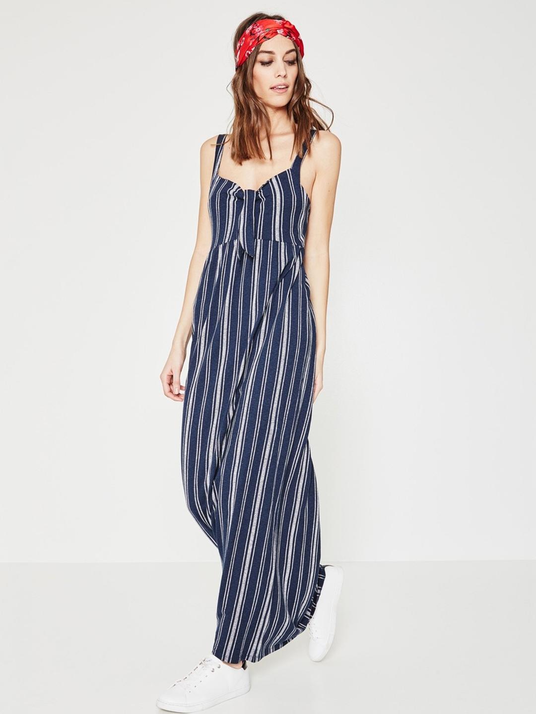 Buy Promod Women Navy Blue   White Striped Maxi Dress - Dresses for ... 4d1161b53c