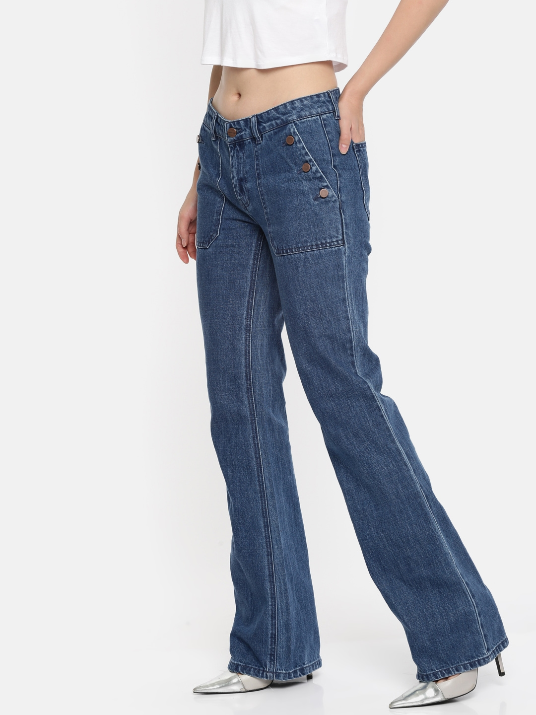 7f3cb122ad2ef Buy Promod Women Blue Bootcut Mid Rise Clean Look Jeans - Jeans for Women  7194542 | Myntra