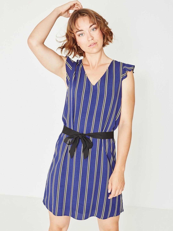 cf1f7da2b8 Buy Promod Women Blue Striped A Line Dress - Dresses for Women ...