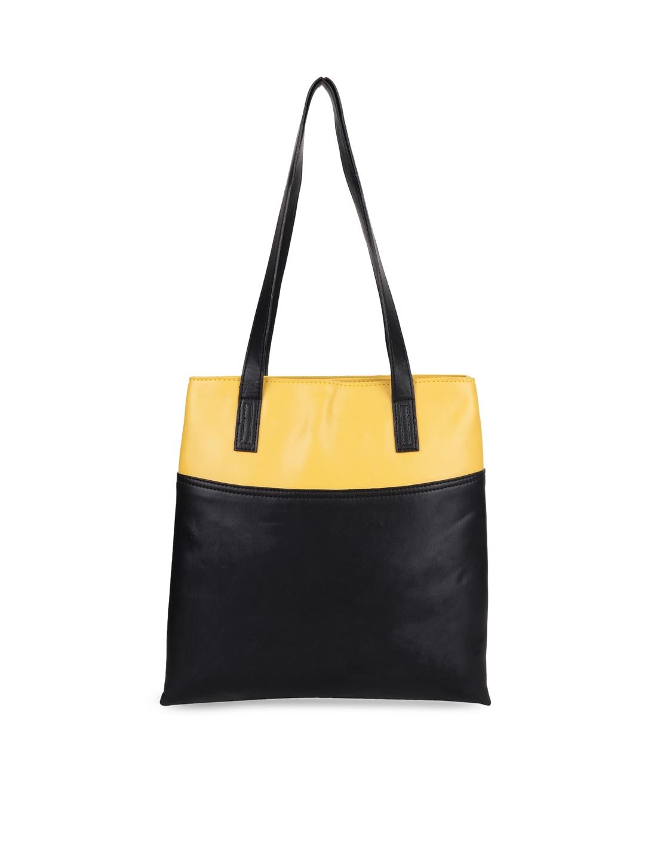 Diwaah Yellow   Black Colourblocked Tote Bag Diwaah Handbags