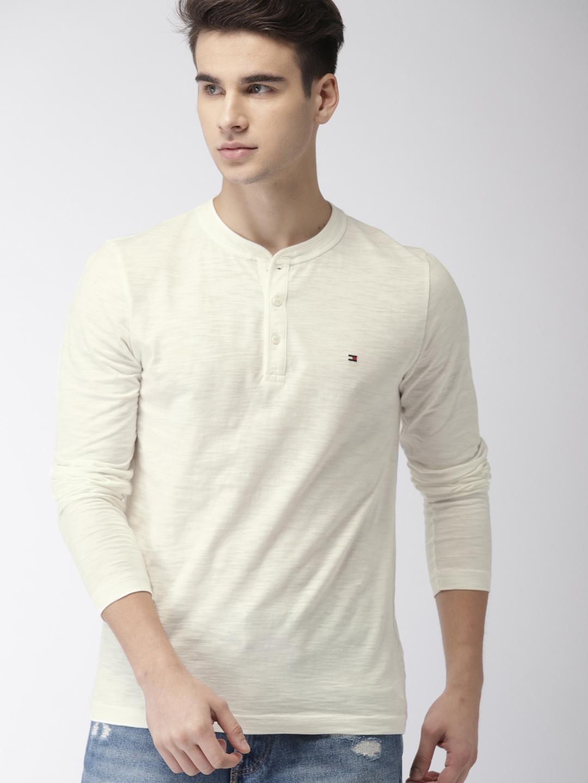 29d83c62 Buy Tommy Hilfiger Men Off White Slim Fit Solid Henley Neck T Shirt ...