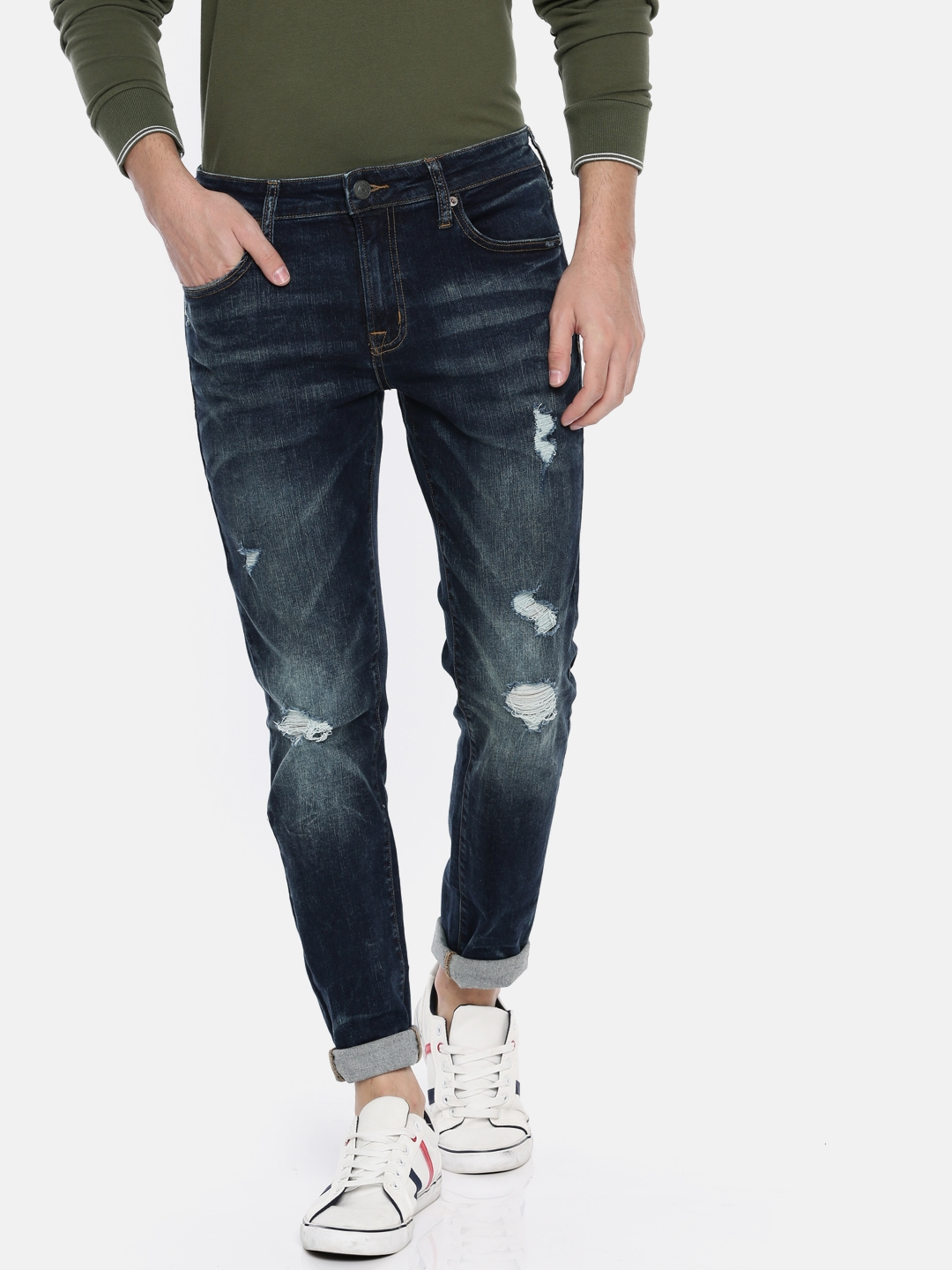 88385d6603b40 AMERICAN EAGLE OUTFITTERS Men Blue Skinny Fit Mid-Rise Mildly Distressed  Stretchable Jeans