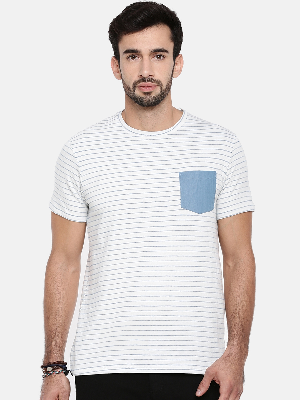 0e5cd1ba19542 Buy Breakbounce Men Off White Striped Round Neck T Shirt - Tshirts ...
