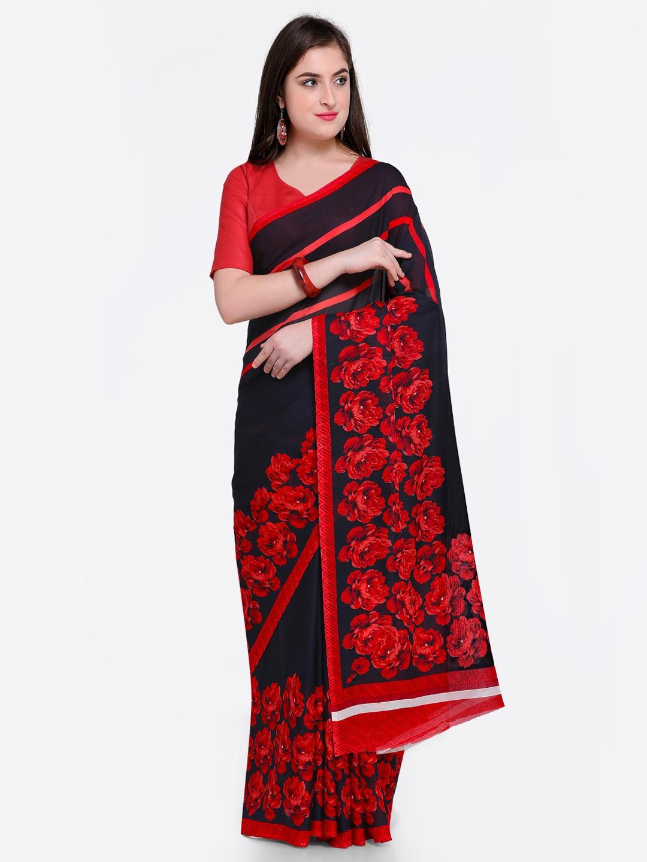 d964fea987182e Buy Satrani Black   Red Pure Georgette Printed Saree - Sarees for ...
