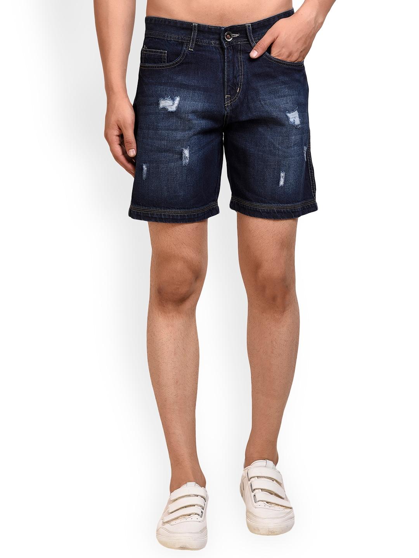 f4d236527e Buy FEVER Men Blue Washed Slim Fit Denim Shorts - Shorts for Men ...